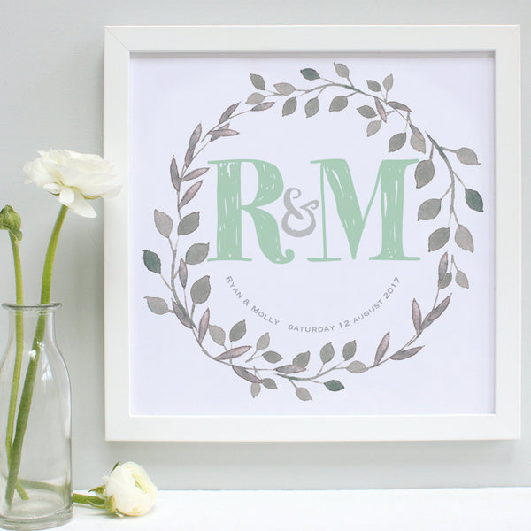 personalised mint green wedding garland print, white frame
