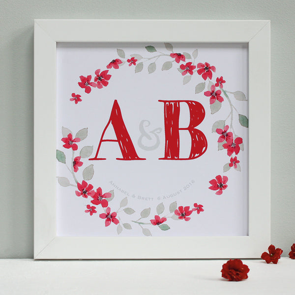personalised berry red wedding garland print, white frame
