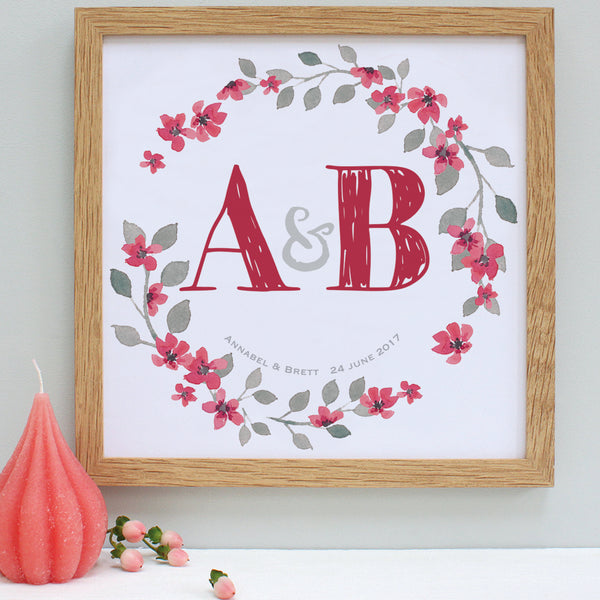 personalised berry red wedding garland print, oak frame