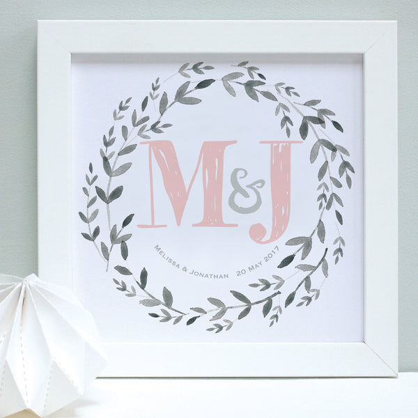 personalised blush wedding garland print, white frame