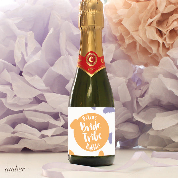 personalised amber bride tribe mini champagne labels, hen party