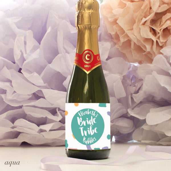 personalised aqua bride tribe mini champagne labels, hen party