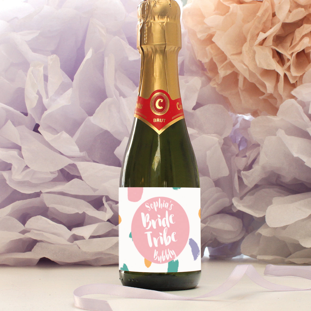 personalised rose bride tribe mini champagne labels, hen party