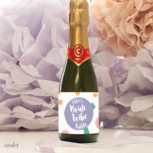 personalised violet bride tribe mini champagne labels, hen party