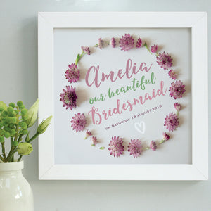personalised separate daisies bridesmaid print, white frame