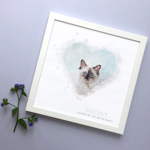 Personalised Cat Heart Portrait Framed Print
