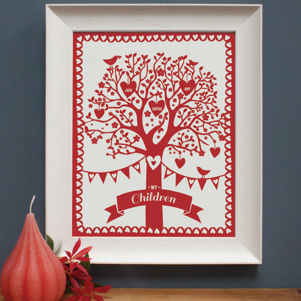 personalised rich red family tree print, white frame