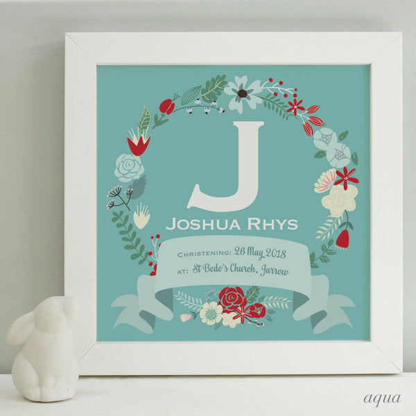 personalised aqua christening print, red flowers, white frame