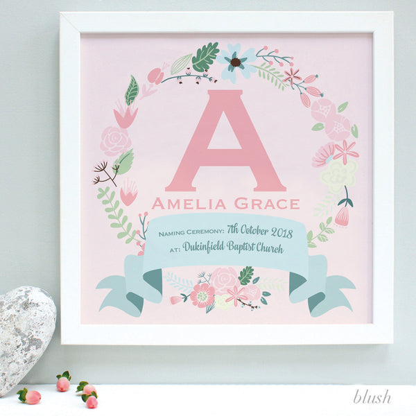 personalised blush christening print, pink flowers, white frame