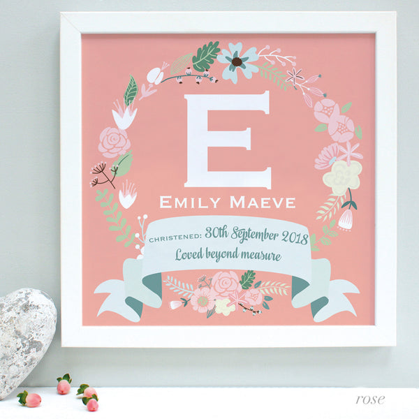 personalised rose christening print, pink flowers, white frame