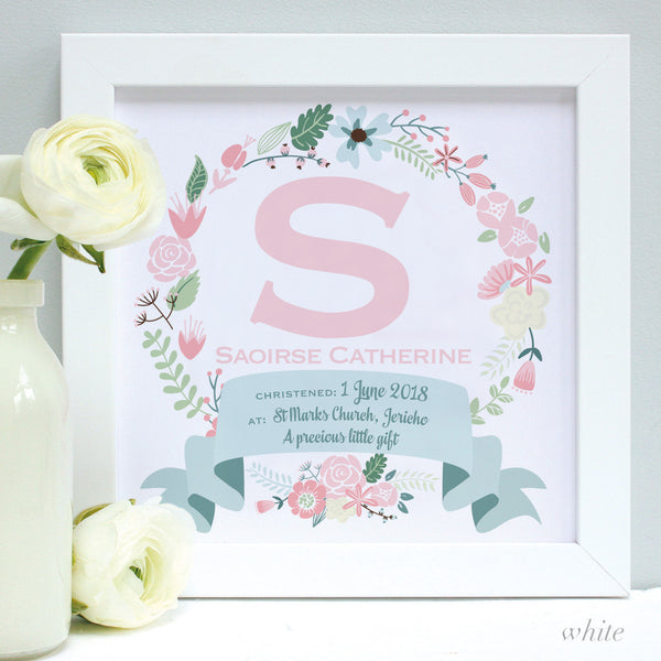 personalised white christening print, pink flowers, white frame