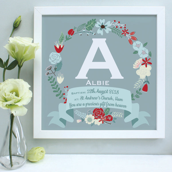 personalised duck egg christening print, red flowers, white frame