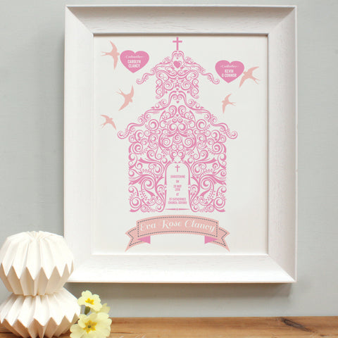 personalised raspberry Godparents print, white frame