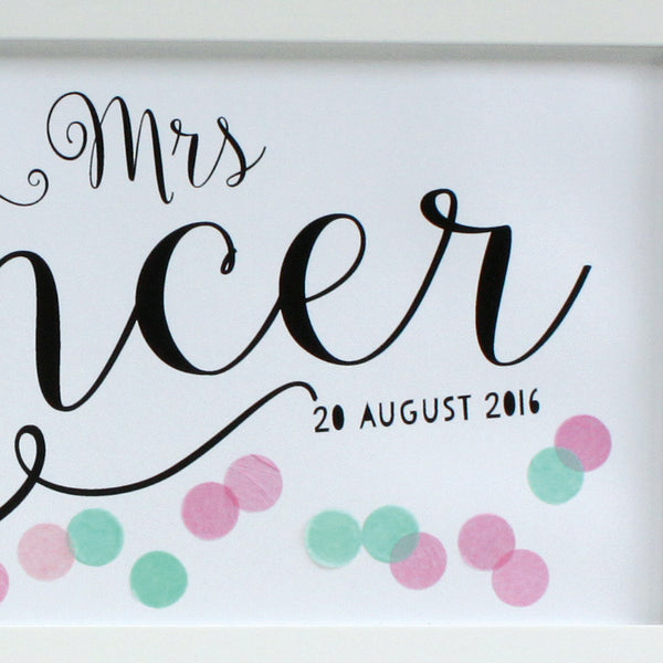 personalised light pink and aqua confetti wedding print, white frame