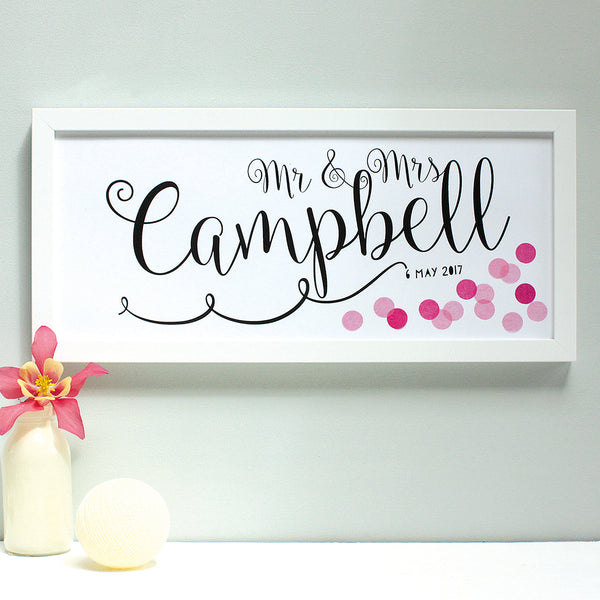 personalised dark pink and light pink confetti wedding print, white frame
