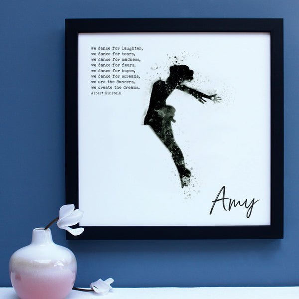 personalised dancer portrait black and white print