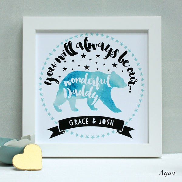 personalised aqua daddy bear print, white frame