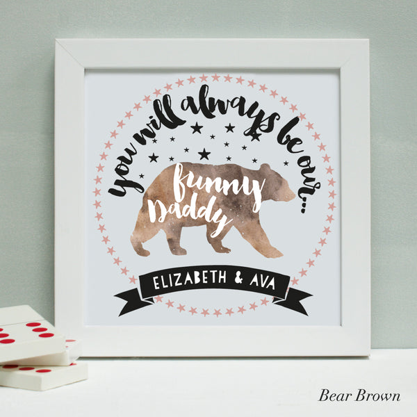 personalised bear brown daddy bear print, white frame