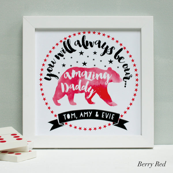 personalised berry red daddy bear print, white frame