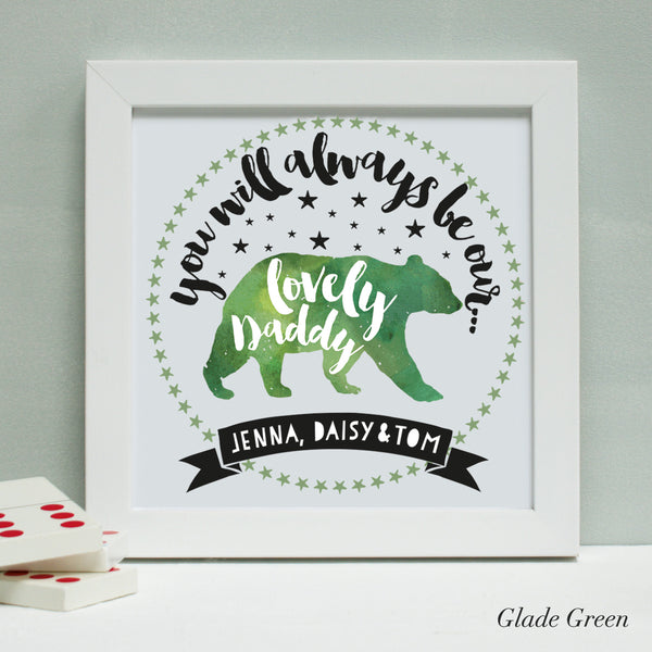 personalised glade green daddy bear print, white frame