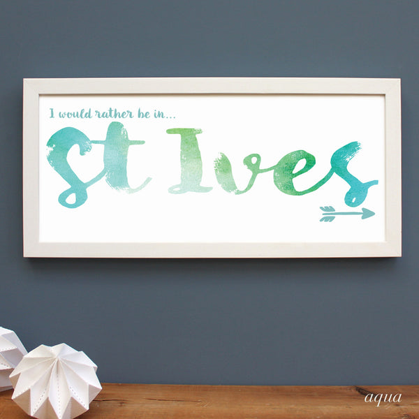 personalised St. Ives print, white frame