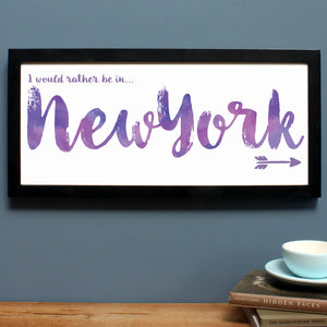 personalised new york print, black frame