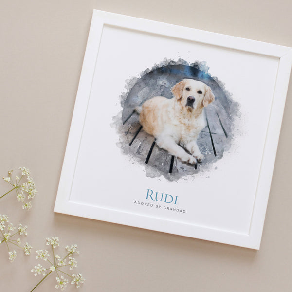 Personalised Dog Watercolour Portrait Framed Print