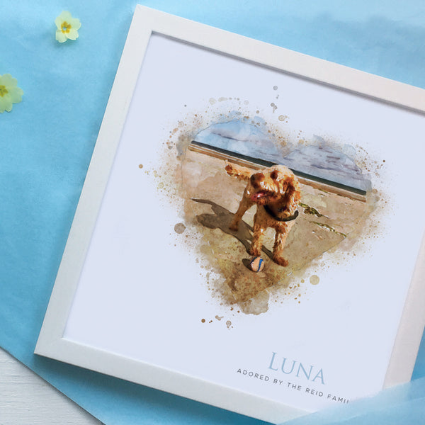 Cockerpoo dog on beach framed gift for birthday in a white frame