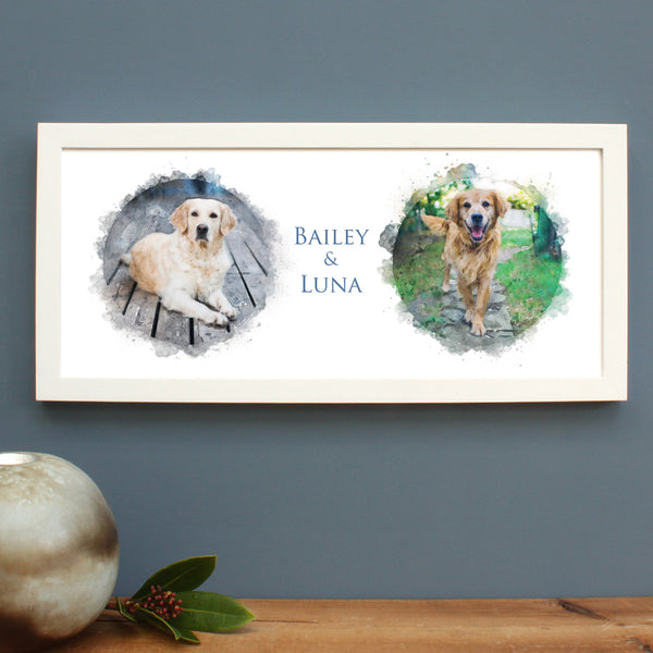 Bespoke Watercolour Pet Family Portrait Framed Print