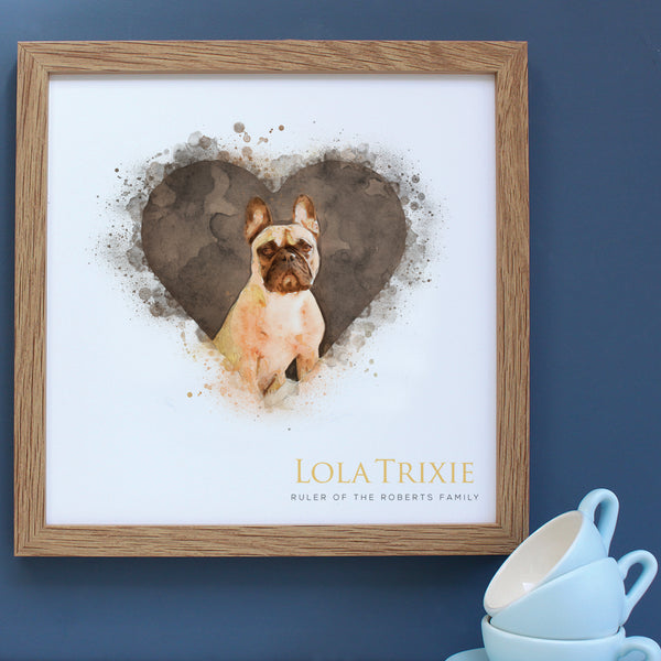 Framed gift of a French Bulldog in a heart in a white frame