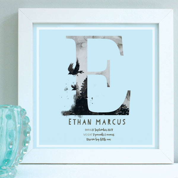 personalised blue new baby print, white frame
