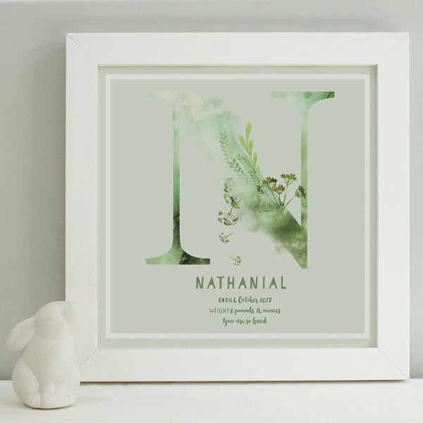 personalised sage new baby print, white frame
