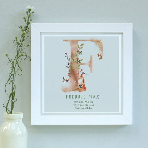 personalised dove grey new baby print, white frame