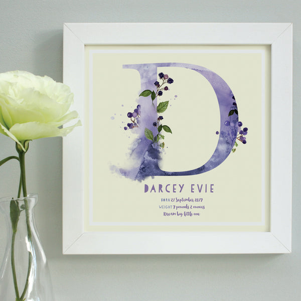 personalised lemon new baby print, white frame