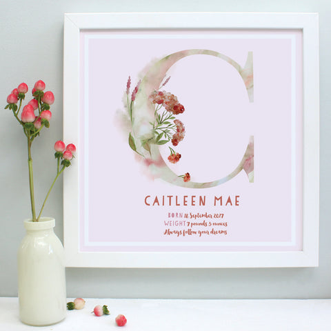 personalised blush new baby print, white frame