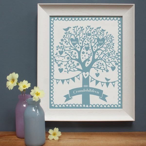 personalised grandchildren duck egg blue family tree