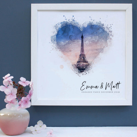 framed print engagement gift of Paris in white frame