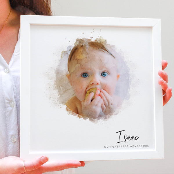 Personalised Family Watercolour Portrait Framed Print