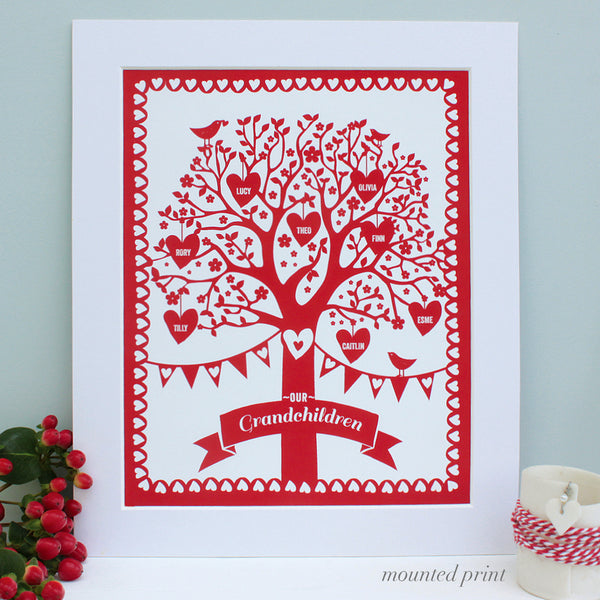 personalised rich red family tree print, white mount