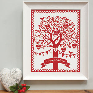 personalised grandchildren red family tree, white frame