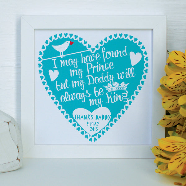 personalised father of the bride print, white frame