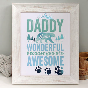 personalised fathers day awesome print, white frame