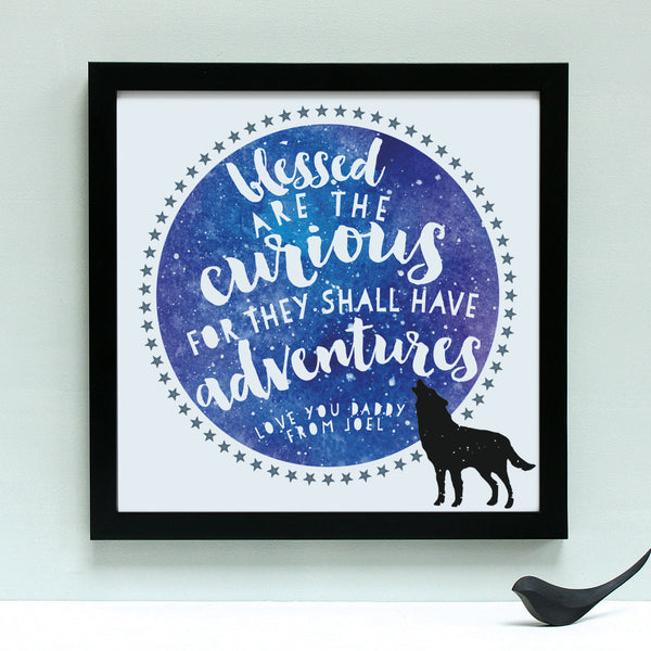 personalised fathers day adventure print, black frame