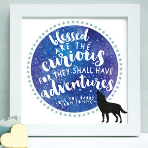 personalised fathers day adventure print, white frame