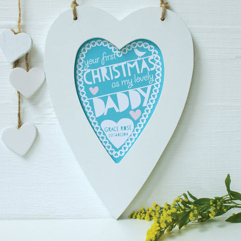 personalised turquoise daddy 1st christmas, white heart frame
