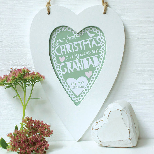 personalised sage daddy 1st christmas, white heart frame