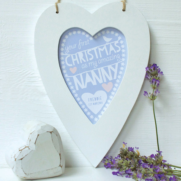 personalised heather daddy 1st christmas, white heart frame