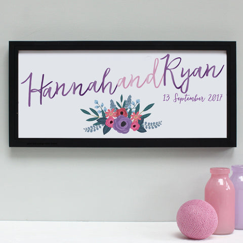 pinks and purples wedding print, black frame