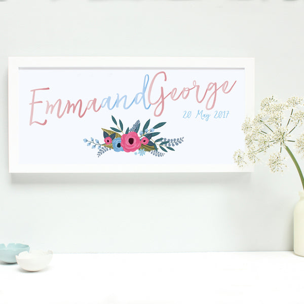 powder blue and blush wedding print, white frame