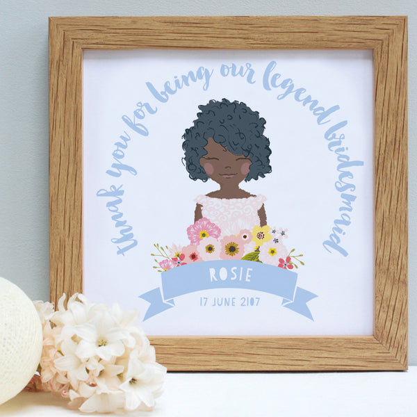 personalised powder blue flower girl portrait print
